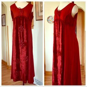 Boho Goth Burgundy Velvet Beaded Dress